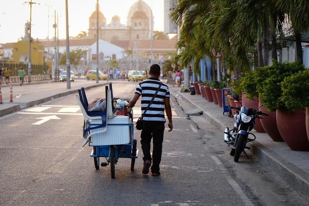 Cartagena street vendor on wheels