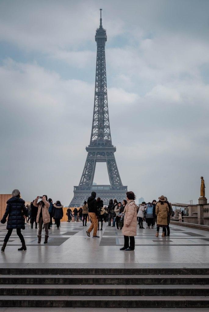 Paris Trocadero, Eiffel tower, tourists