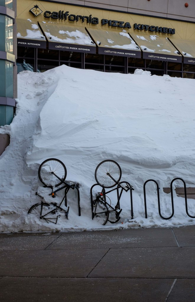 Boston bikes snowed in
