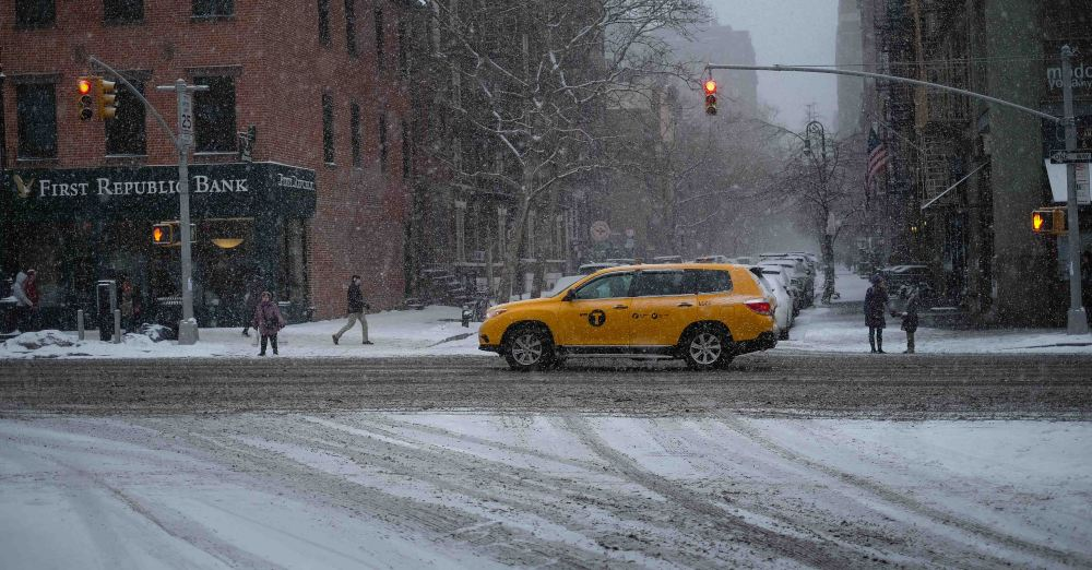 Sliding cars, snow fall New York
