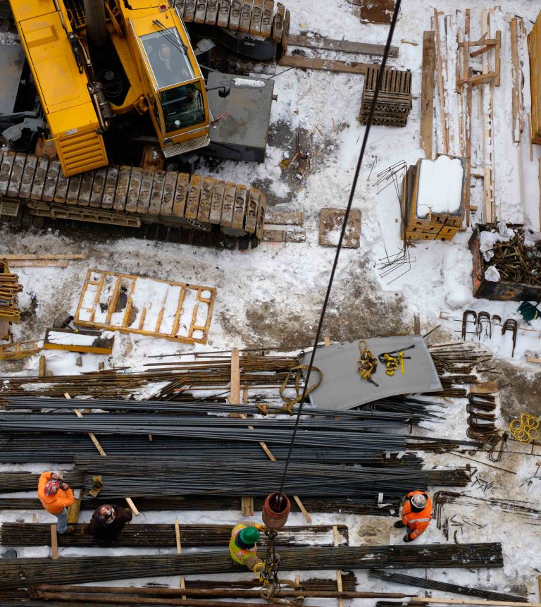 Winter building site, New York