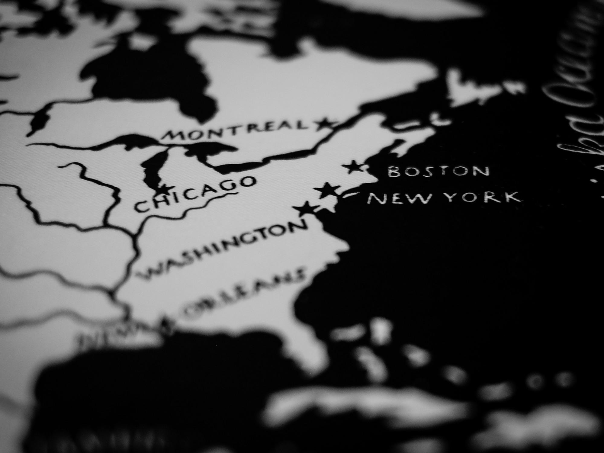 USA map, Boston, New York