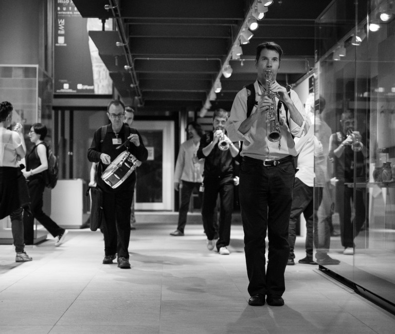 The ensembles marching through the museum Torino Jazz Festival 2015 Egyptology Museum