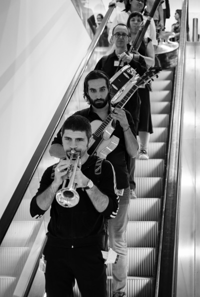 Jazz musicians in escalator Jazz festival Torino 2015 Egyptology Museum