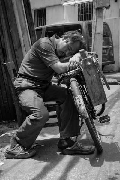 The carpenter taking a nap, Old City of Shanghai