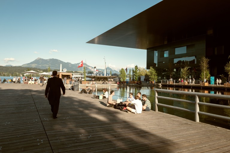 Lucerne Festival musician going to concert
